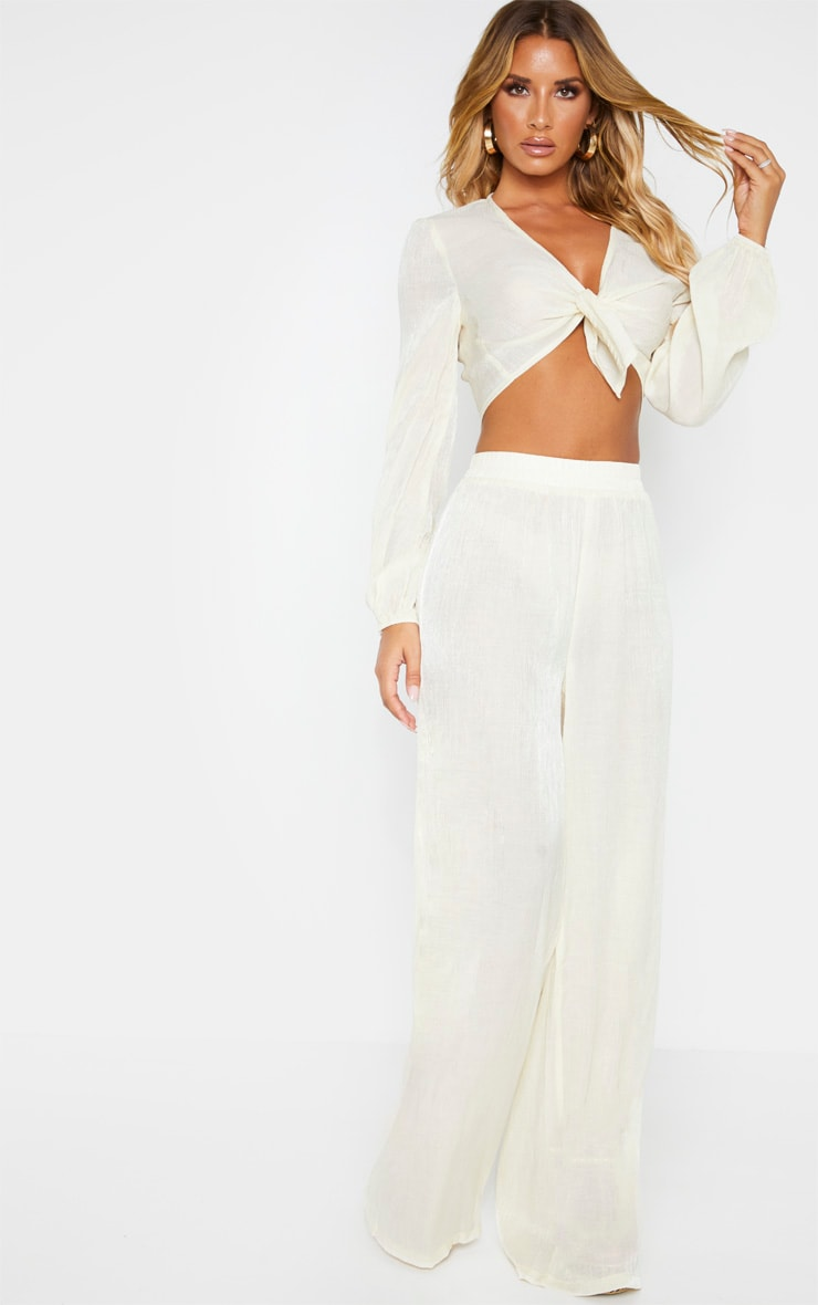 Cream Textured Wide Leg Pants 1