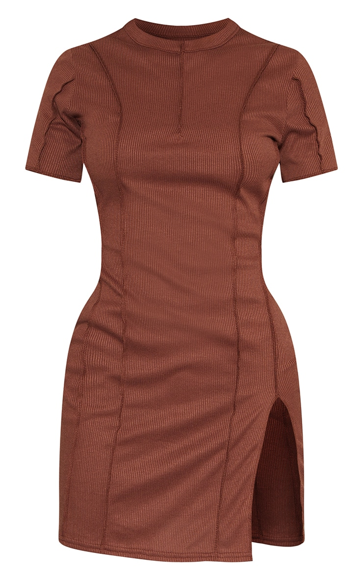 Chocolate Ribbed Overlock Seam Split Hem Short Sleeve Bodycon Dress 5