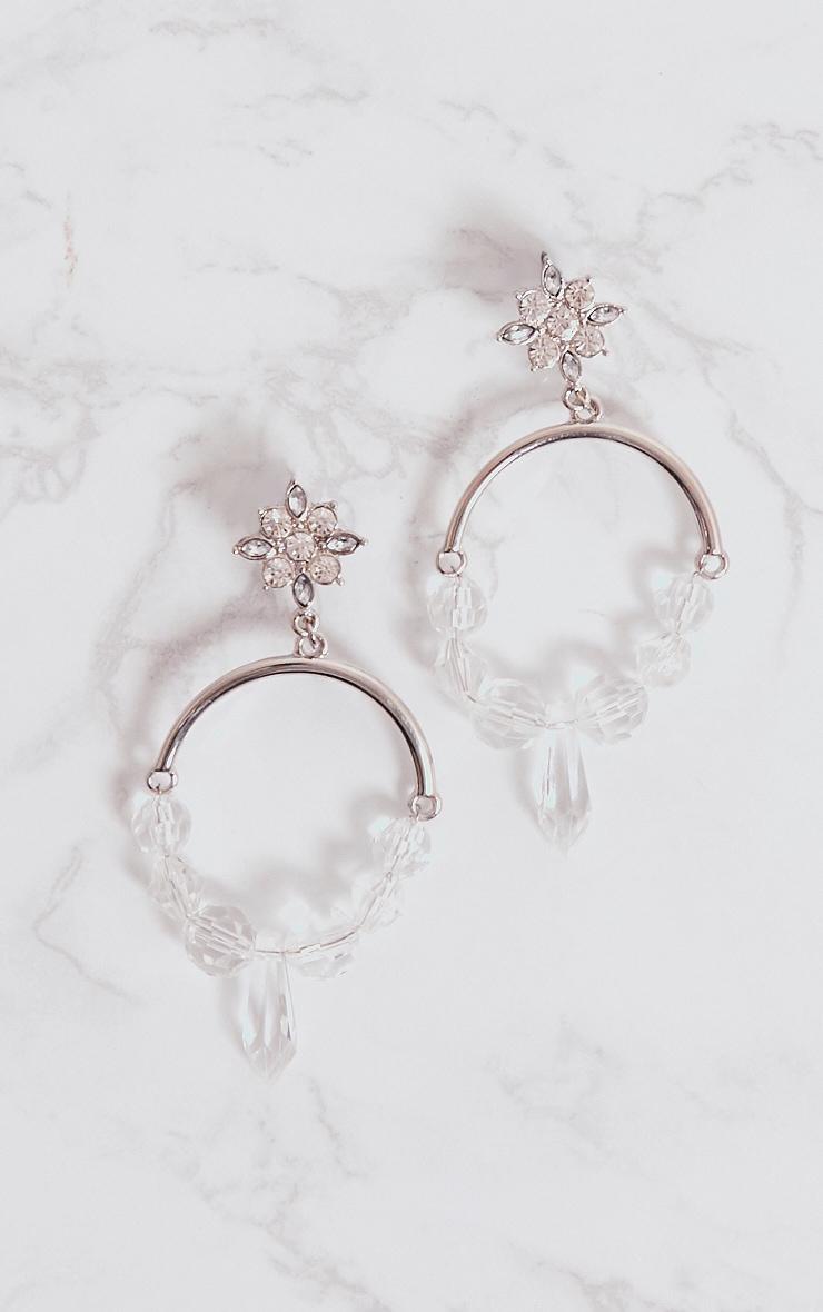 Silver Acrylic Detail Hoop Earrings 3