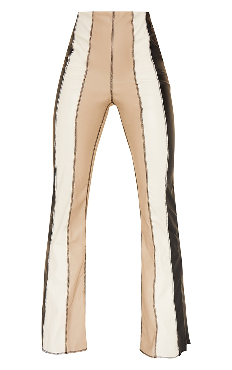 Black Faux Leather Panelled Skinny Flared Trousers 5