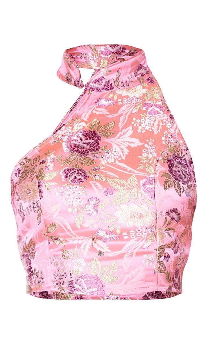 Light Pink Satin High Neck Asymmetric Crop Top 5