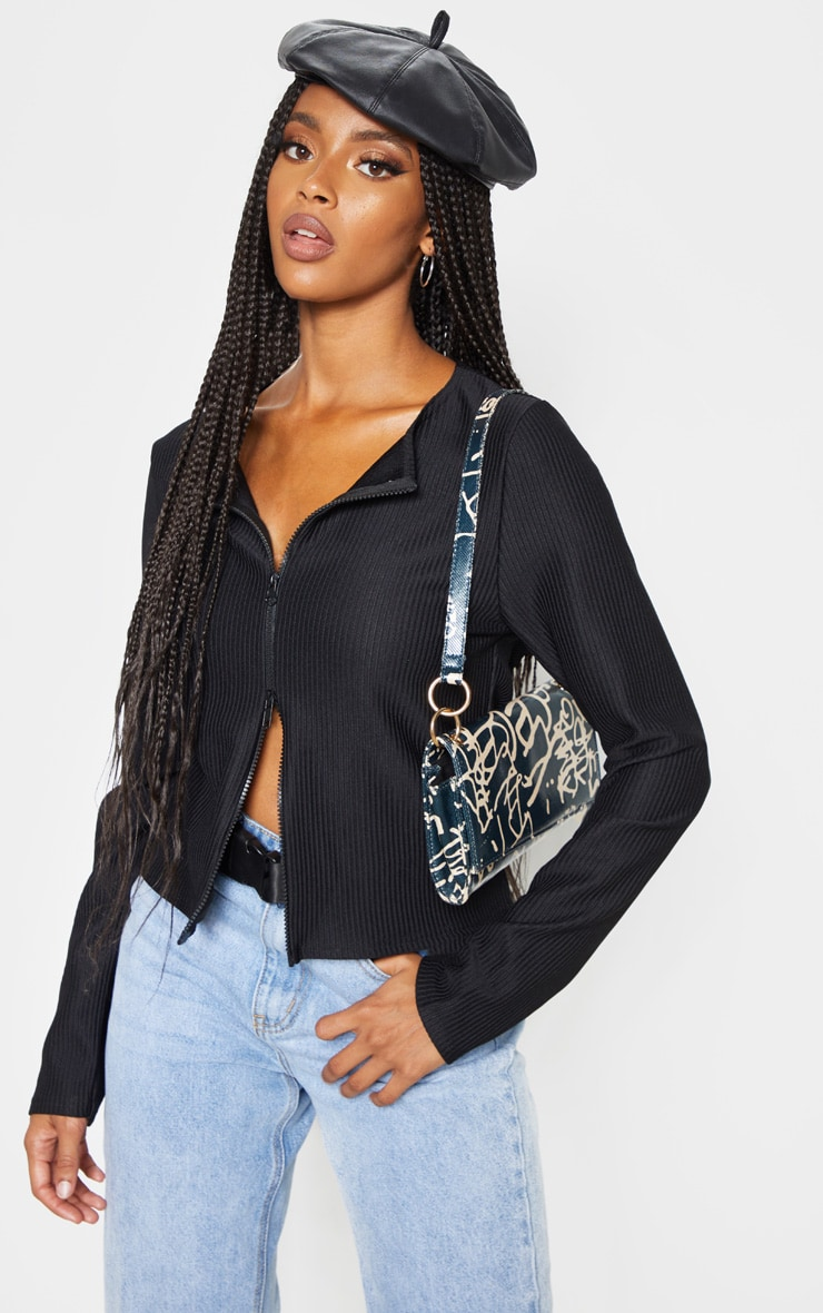 Black Jumbo Rib Double Zip Top 1