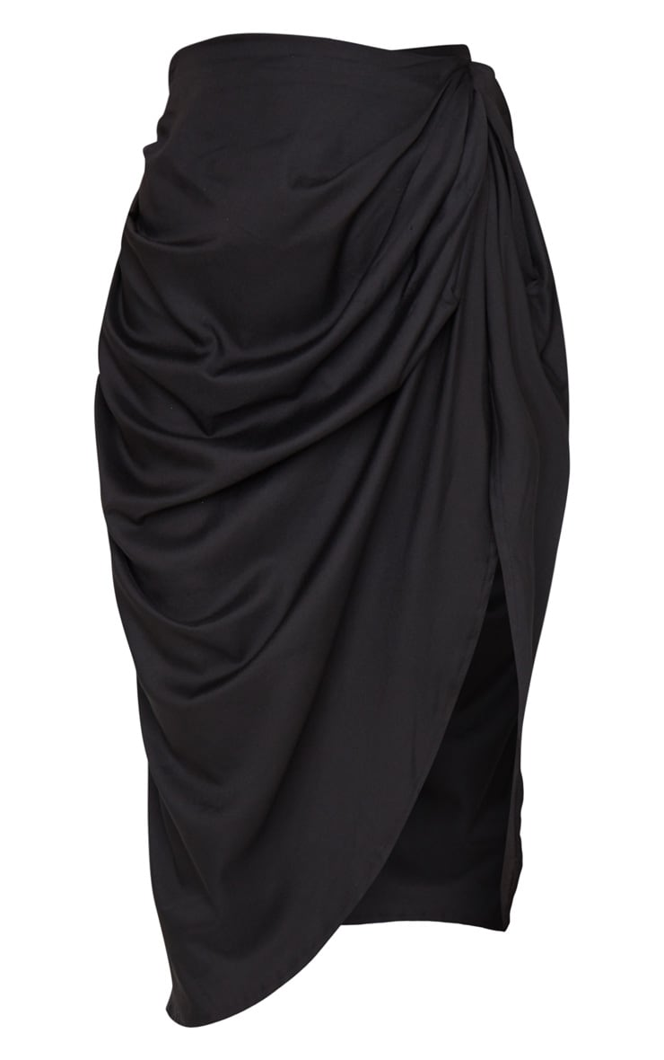 Black Ruched Side Midi Skirt 5