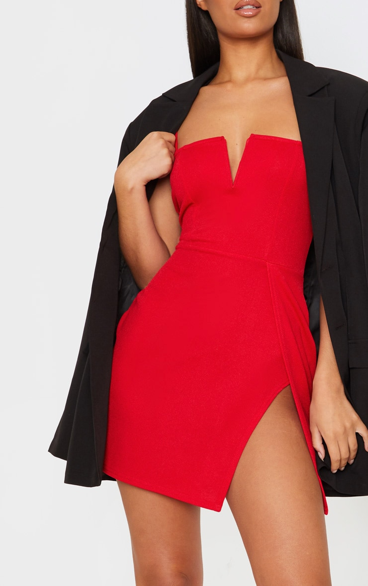 Red Extreme Thigh Split Panelled Plunge Bodycon Dress 5