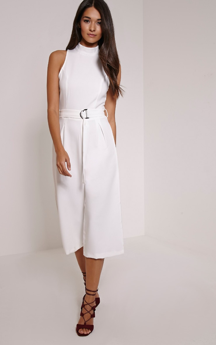 Candace White High Neck D Ring Culotte Jumpsuit 4