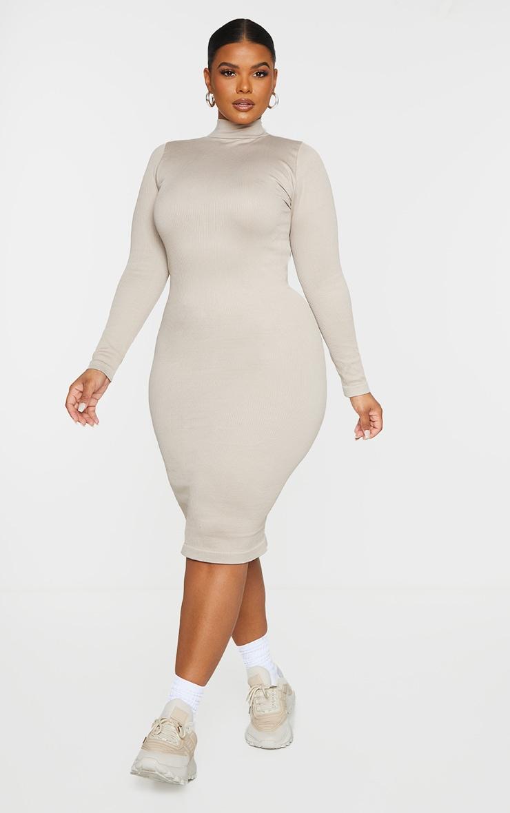Plus Stone Structured Contour Rib High Neck Midi Dress  3