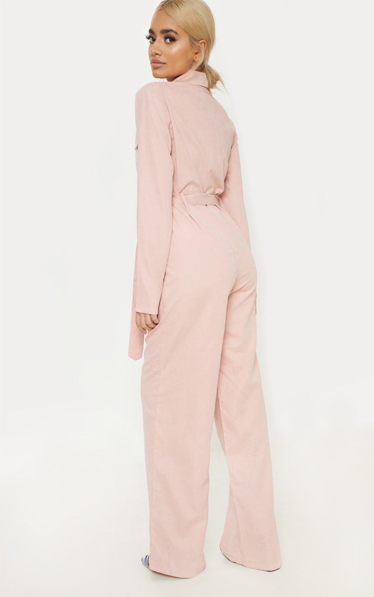 Petite Pink Faux Suede Button Up Jumpsuit 2