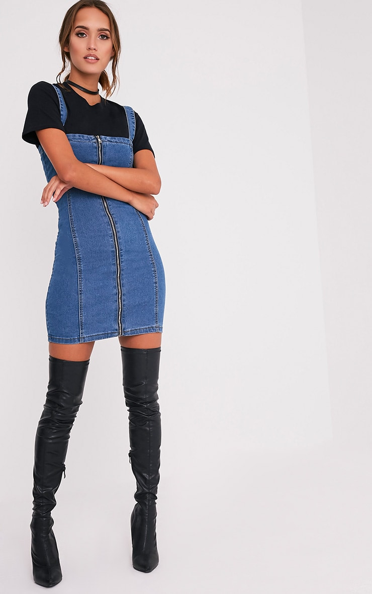 Alexae Mid Wash Denim Front Zip Fitted Body Con Dress 5