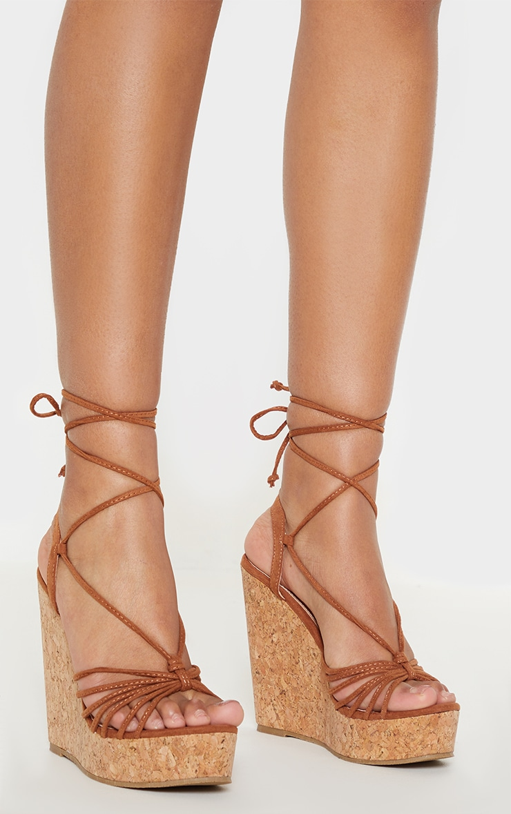 Tan Strappy Lace Up Cork Wedge 2