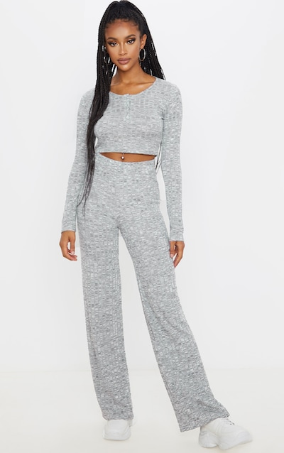 Grey Popper Front Crop And Wide Leg Lounge Set