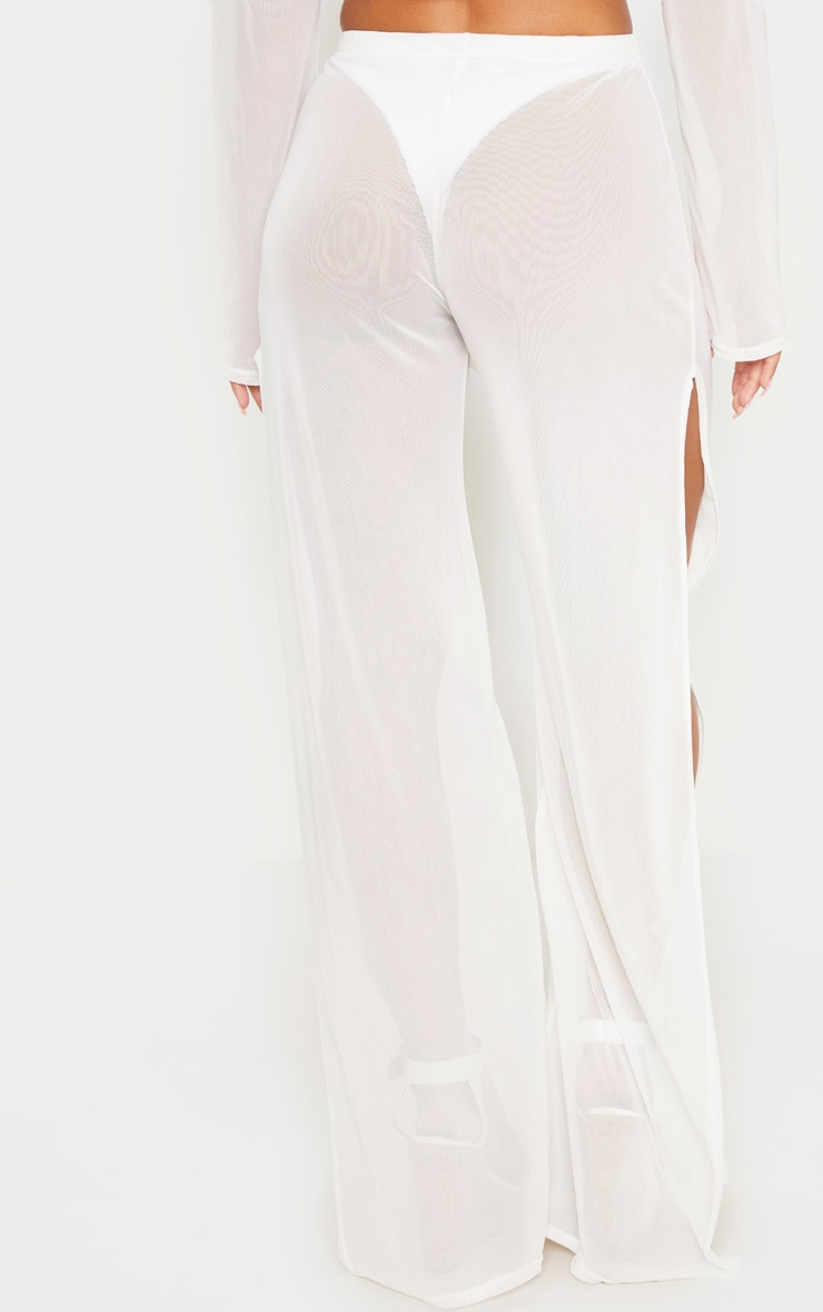 White Split Leg Beach Trouser 3