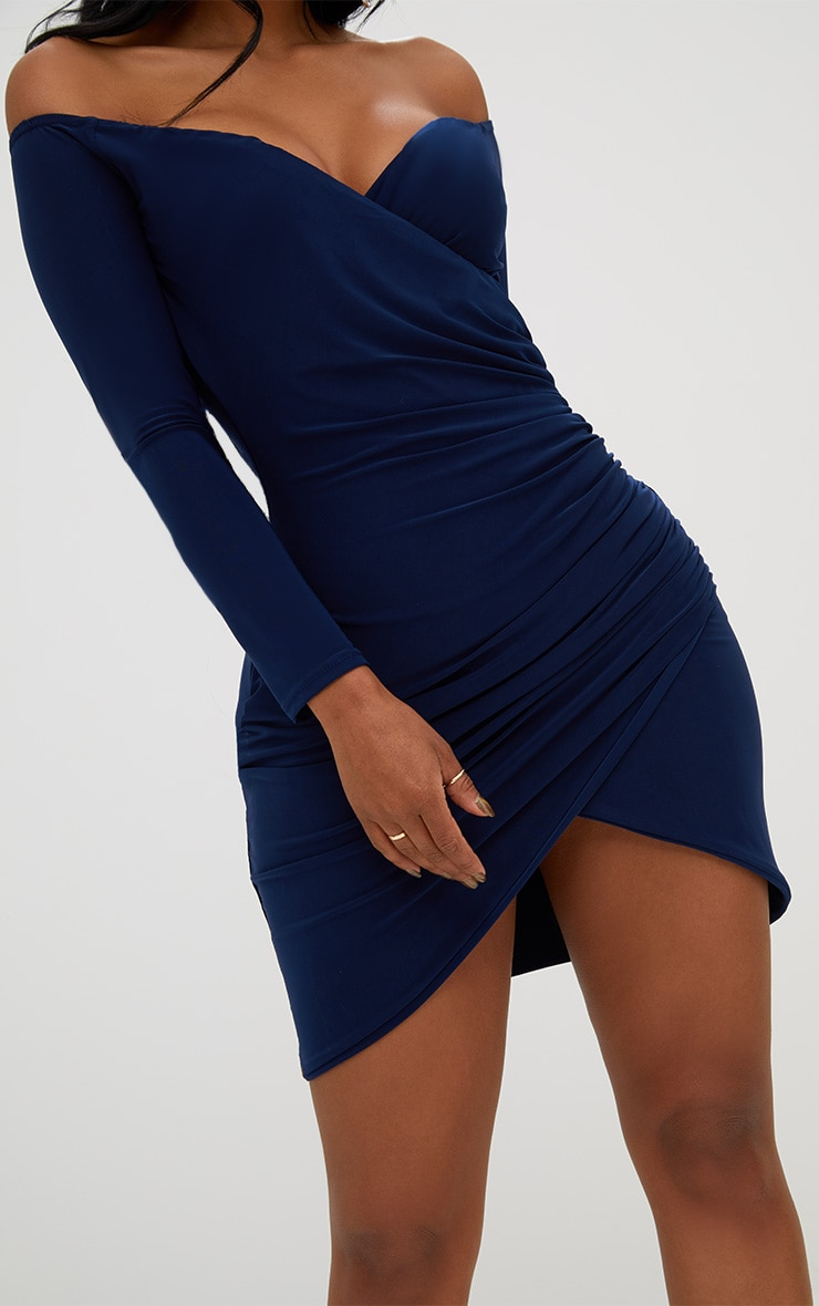 Shape Navy Ruched Bardot Bodycon Dress 5