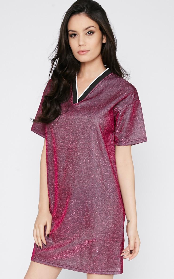 Luyu Pink Glitter Sporty Shift Dress 4