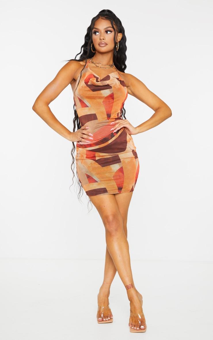 Orange Abstract Print Mesh Halterneck Open Back Bodycon Dress 3