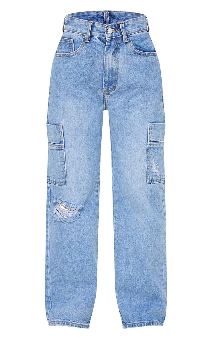 Petite Light Blue Wide Leg Distressed Cargo Jeans 5