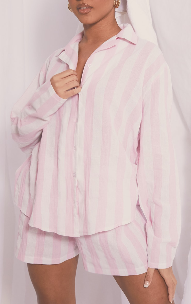 Pink Mix And Match Wide Stripe Cotton Long Sleeve PJ Shirt 1