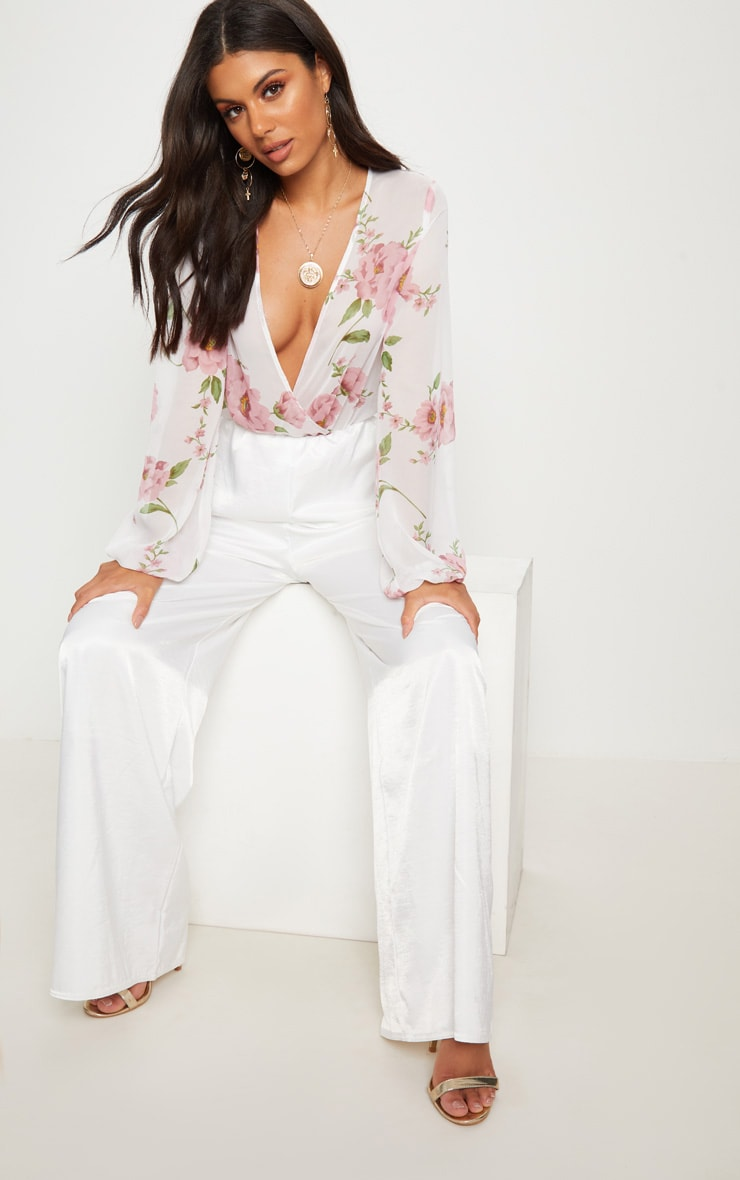 White Rose Print Long Sleeved Wrap Bodysuit 5