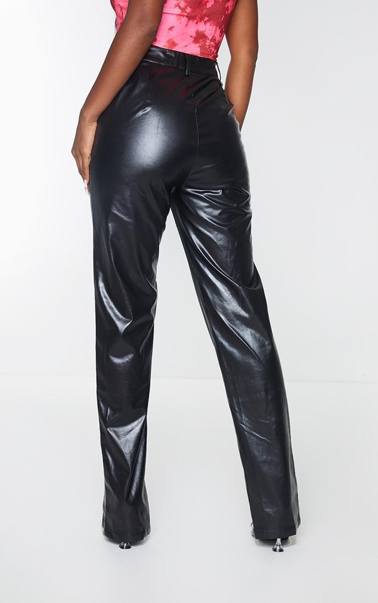 Black Faux Leather Split Hem Seam Detail Skinny Pants 3