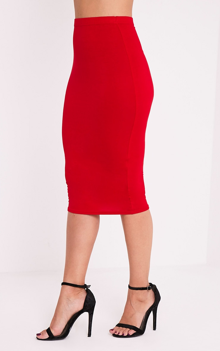 Basic Red Jersey Midi Skirt 4