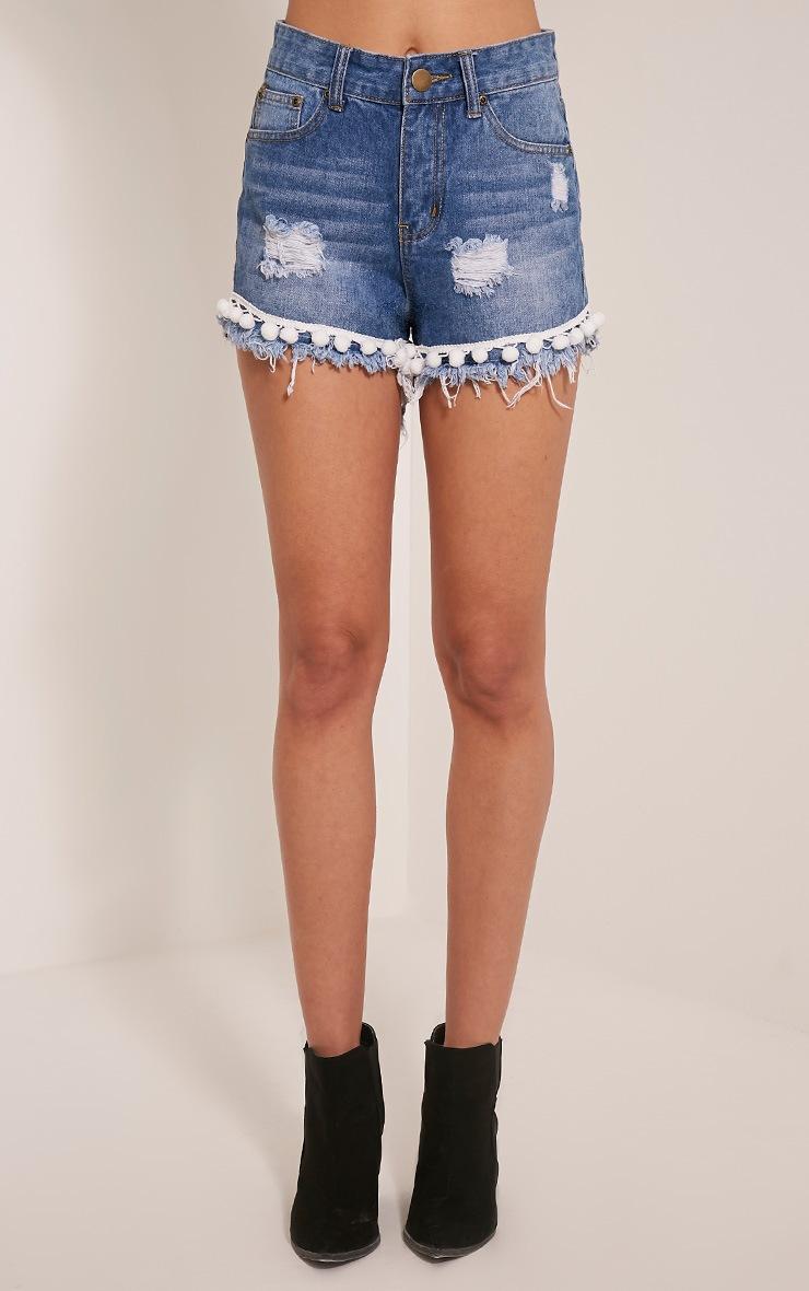 Farryn Blue Pom Pom Trim Mid Wash Denim Shorts 2
