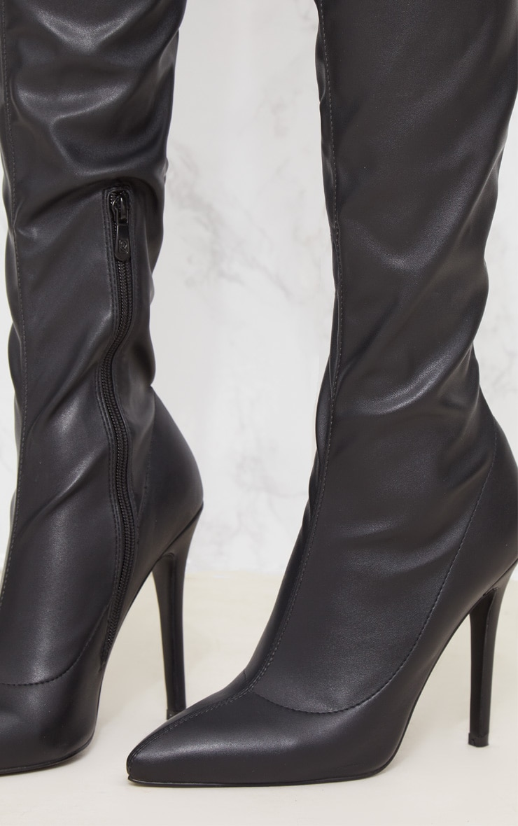 Black PU Pointed Thigh High Boot 5