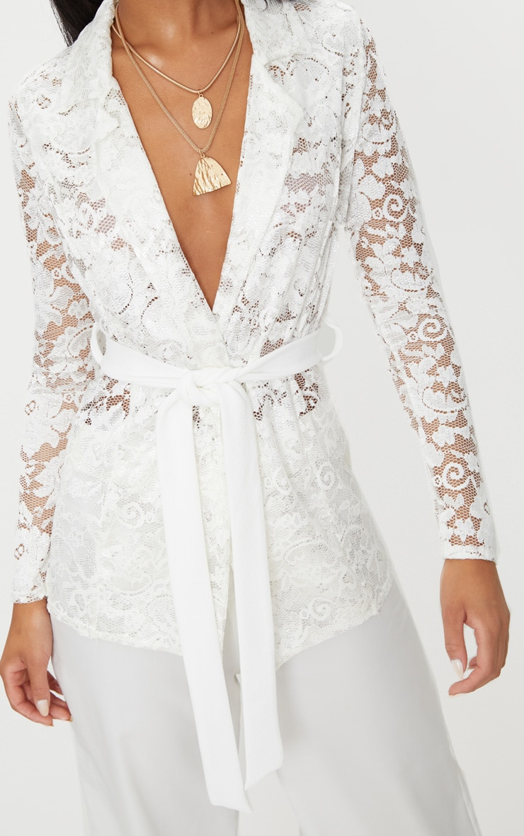 White Lace Belted Blazer 5