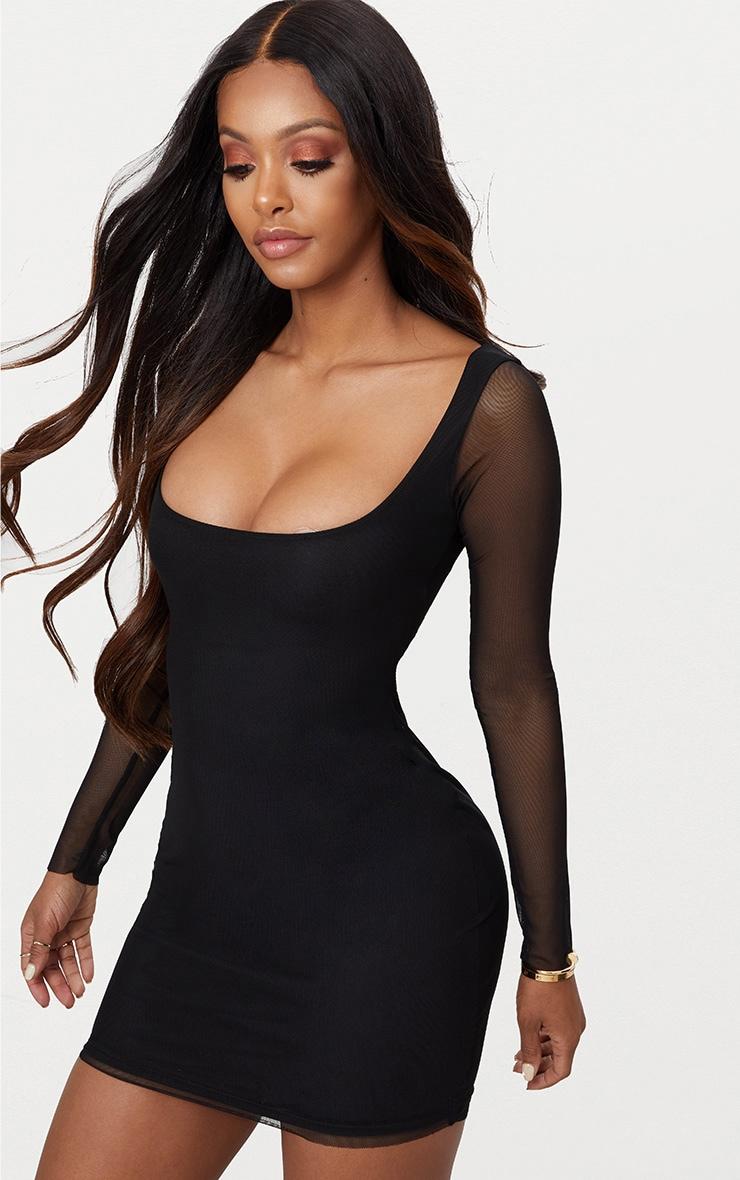 Shape Black Mesh Square Neck Bodycon Dress 1