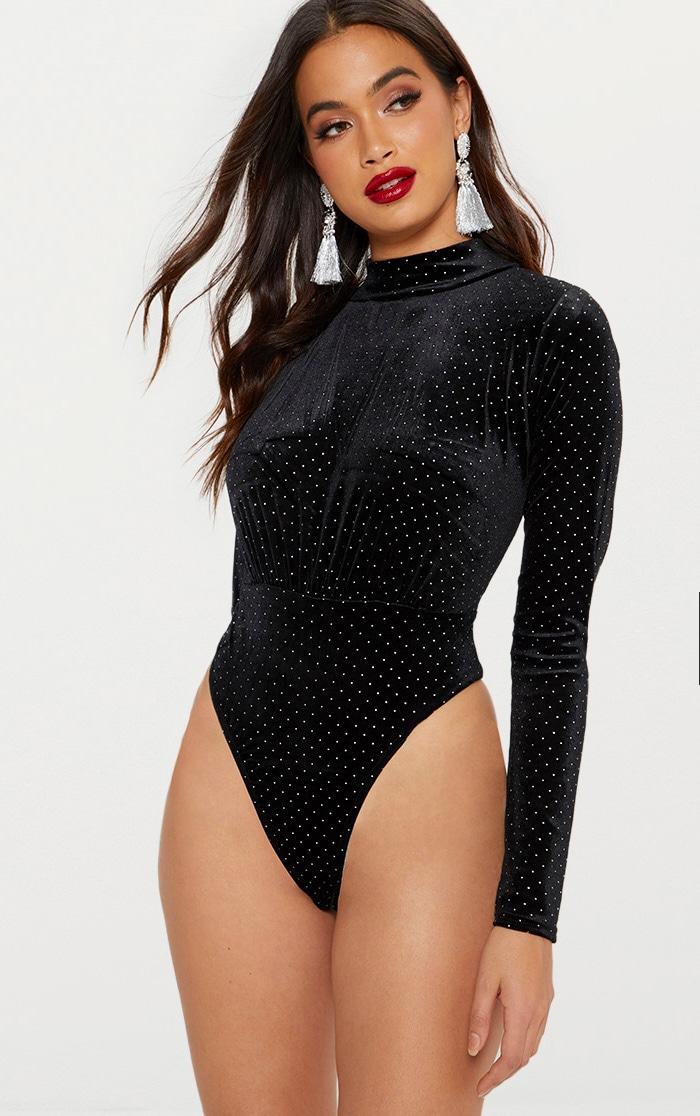Black Velvet Sparkle Gathered Front Thong Bodysuit  1