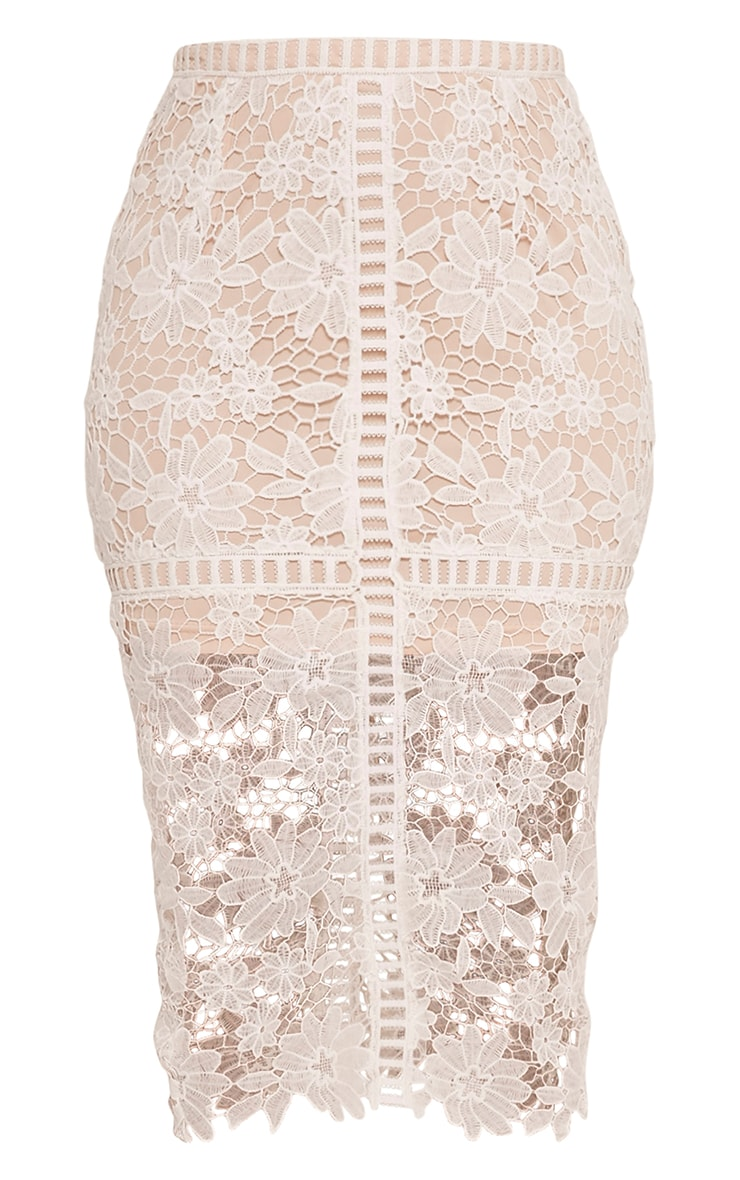Janae White Crochet Lace Midi Skirt 3