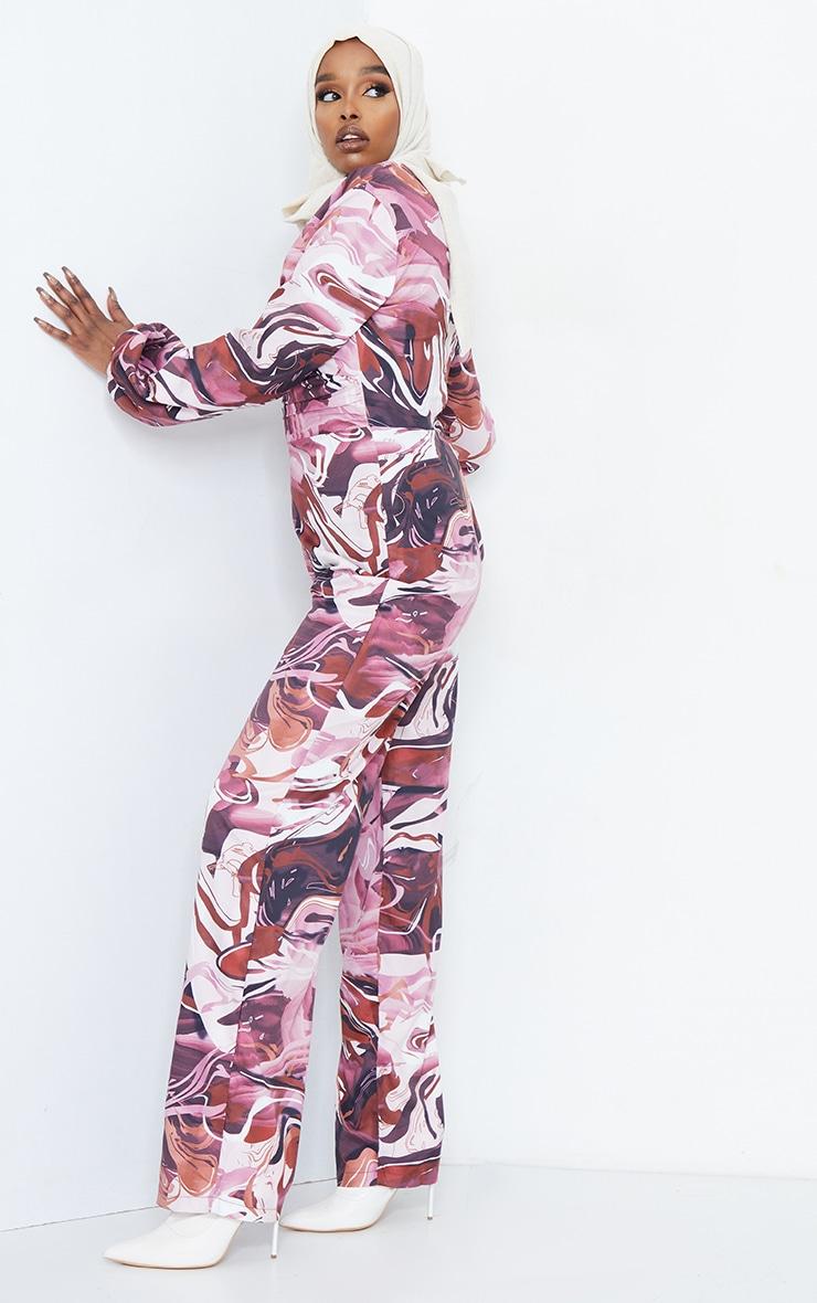 Brown Marble Print Twist Long Sleeve Jumpsuit 3