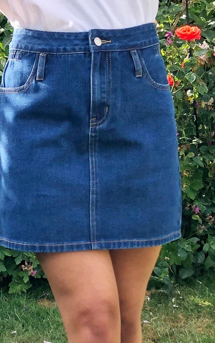 Dark Blue Wash Ruched Side Skirt 5