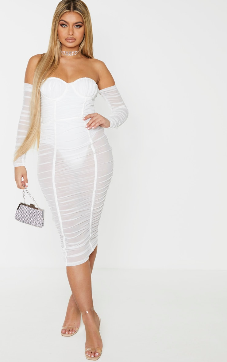 White Mesh Ruched Velvet Binded Bardot Midi Dress 4