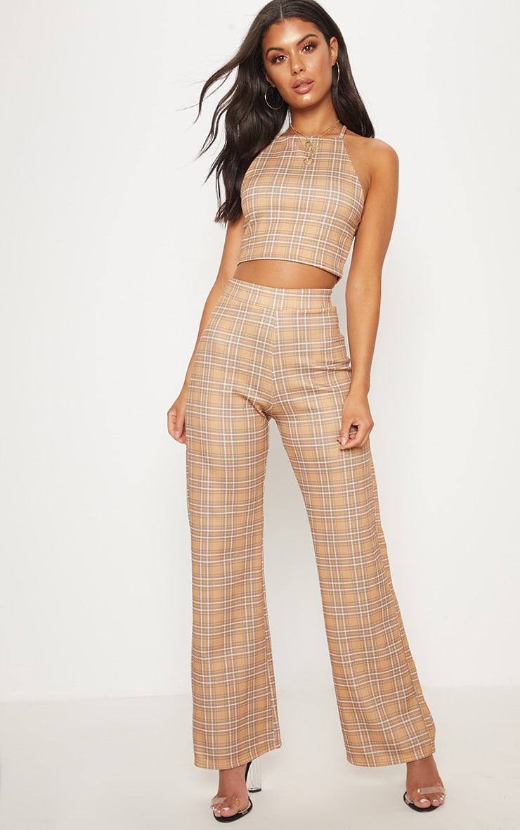 Camel Check Strappy Cross Back Crop Top 5