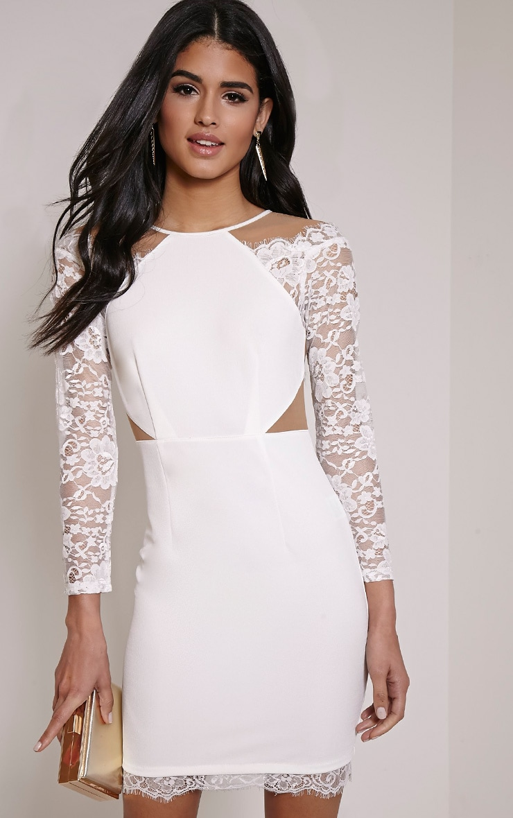 Zoe Cream Lace Detail Mini Dress 1