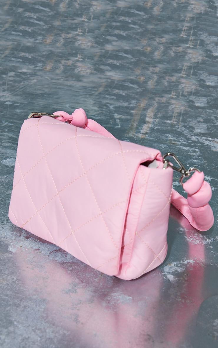 Pink Nylon Quilted Shoulder Bag 3