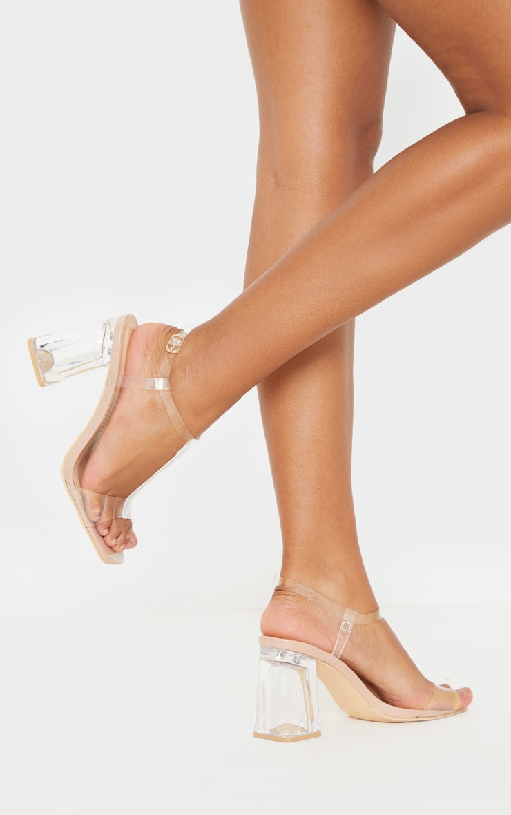 Nude Clear Block Heel Strappy Sandal 1