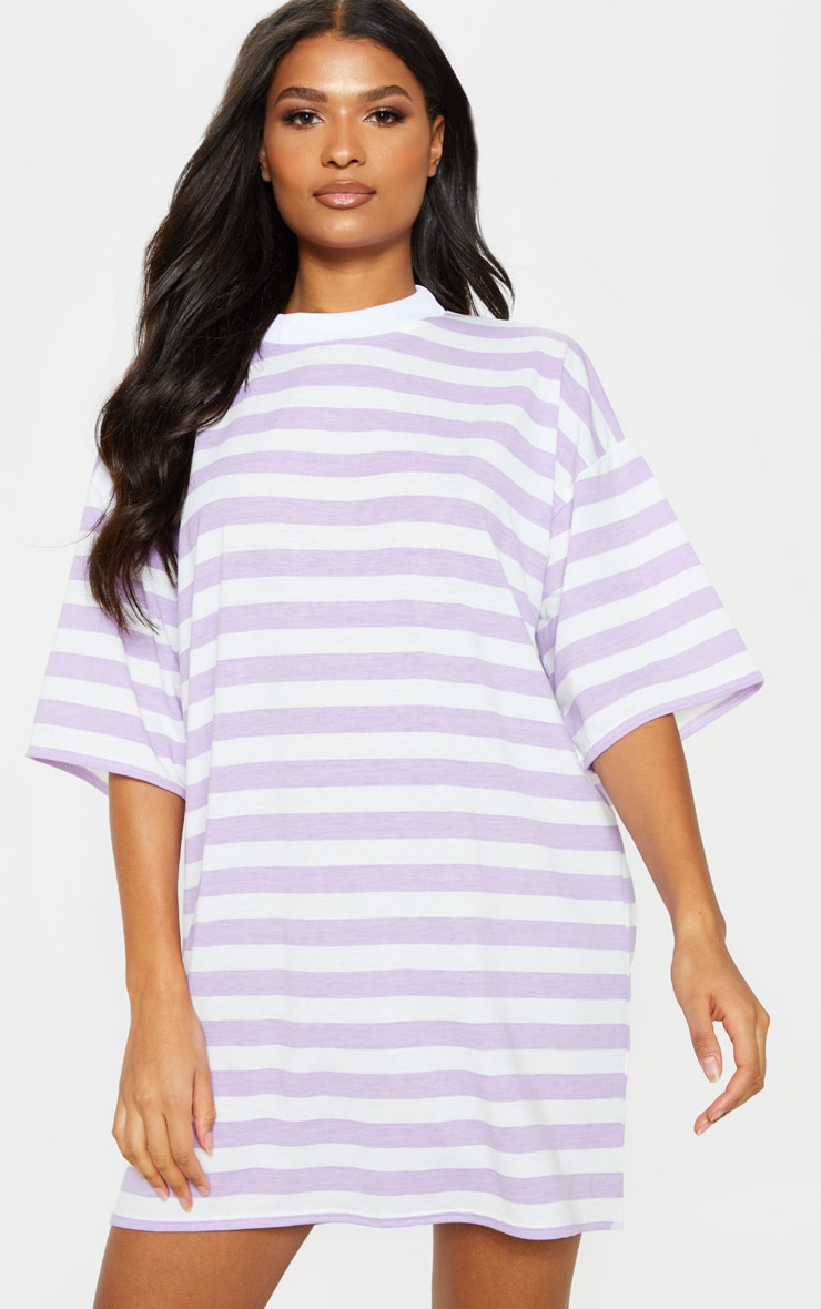 Lilac Stripe Oversized Boyfriend T Shirt Dress 1