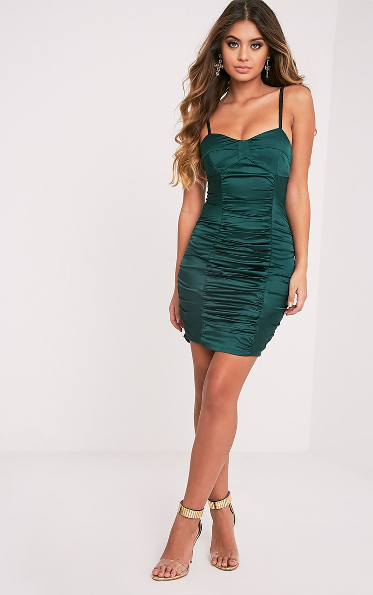 Lauriana Emerald Green Satin Strappy Ruched Bodycon Dress 5