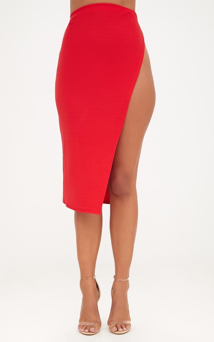 Red Extreme Split Midi Skirt 2