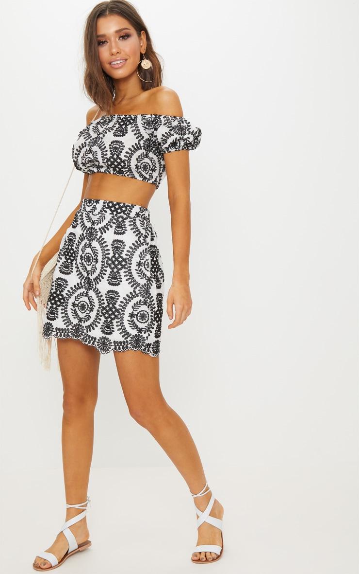 Black Embroidered A-Line Mini Skirt 5