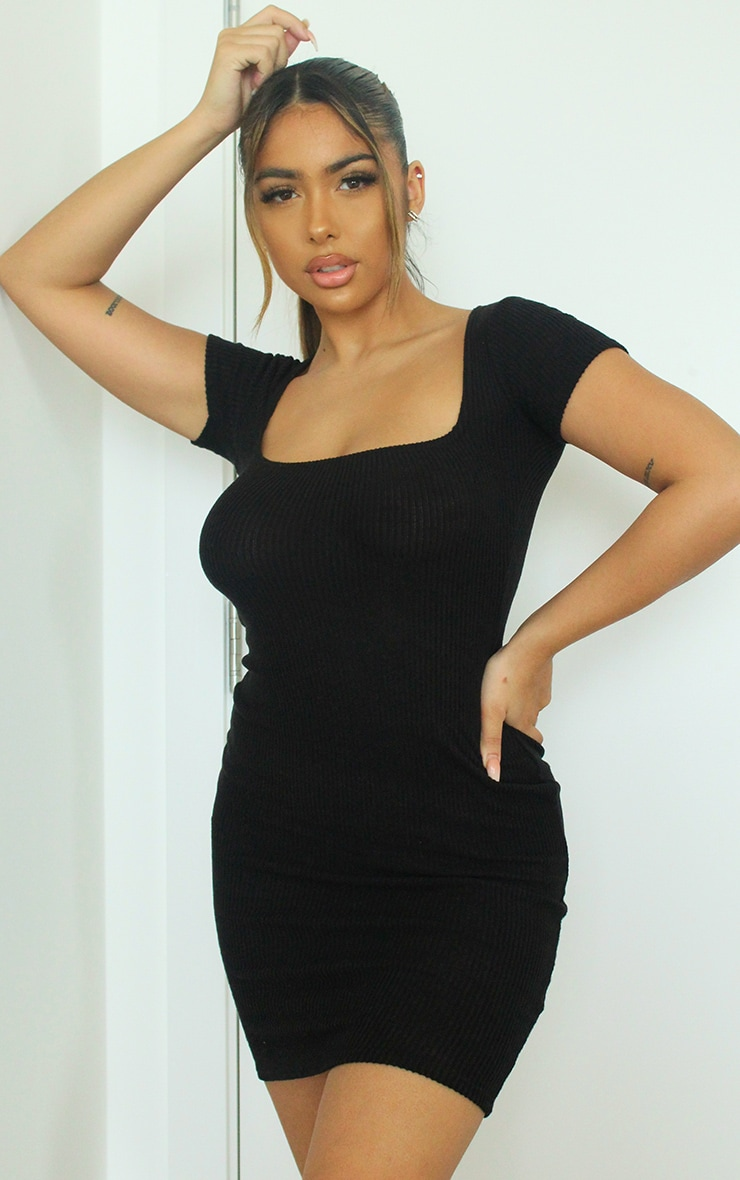 Black Square Neck Brushed Rib Bodycon Dress 1