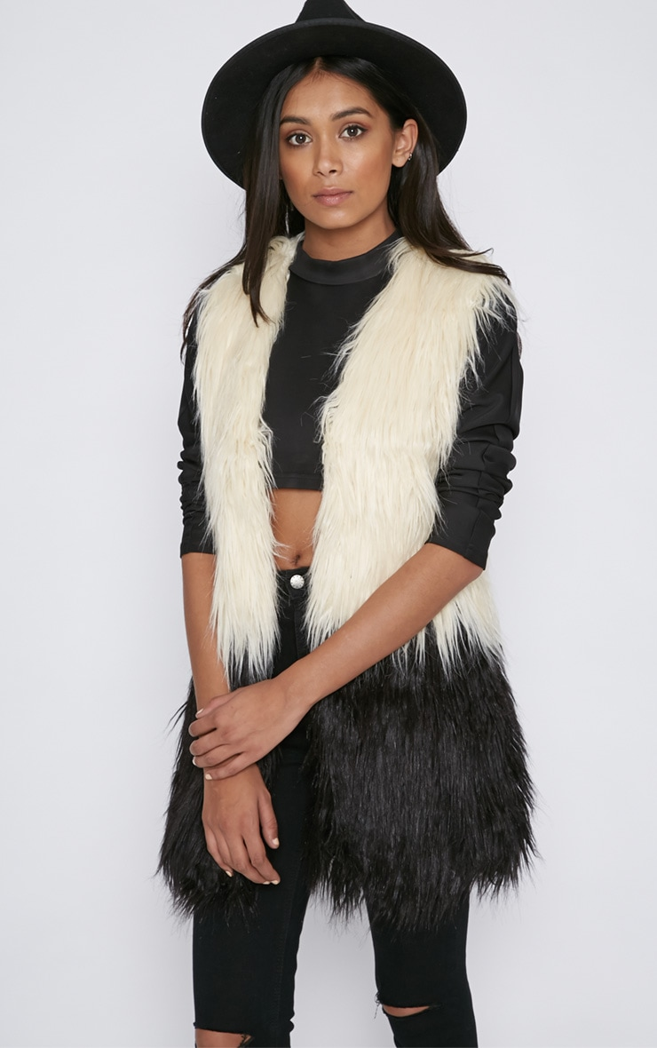Alanis Dip Dyed Longline Fur Gilet  1
