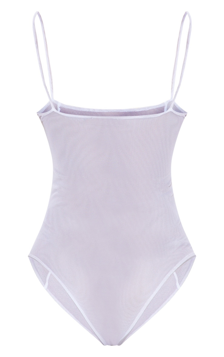 Grey Contrast Sheer Mesh Strappy Bodysuit 4