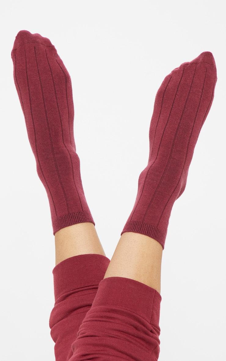 Burgundy Ribbed Ankle Socks 1
