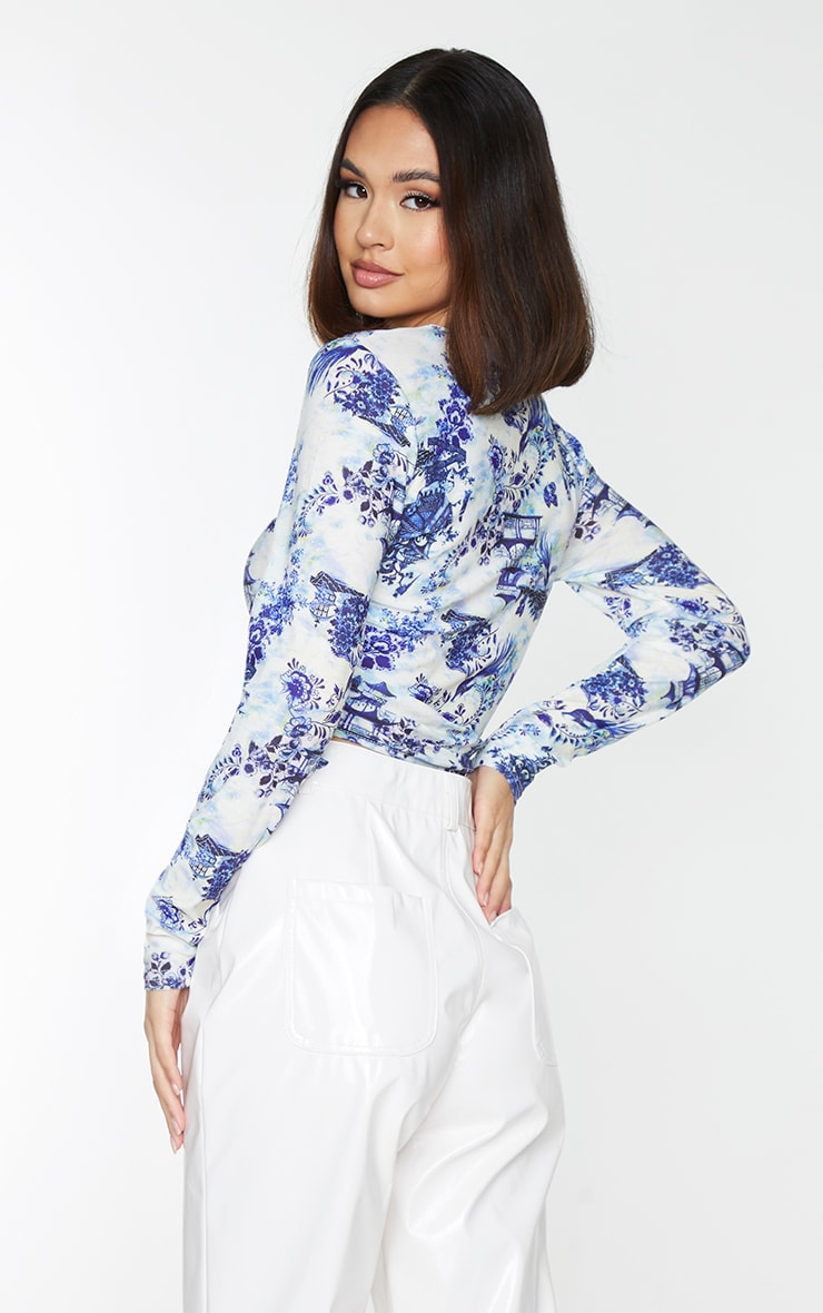 White Print Jersey Ruched Side Long Sleeve Crop Top 2