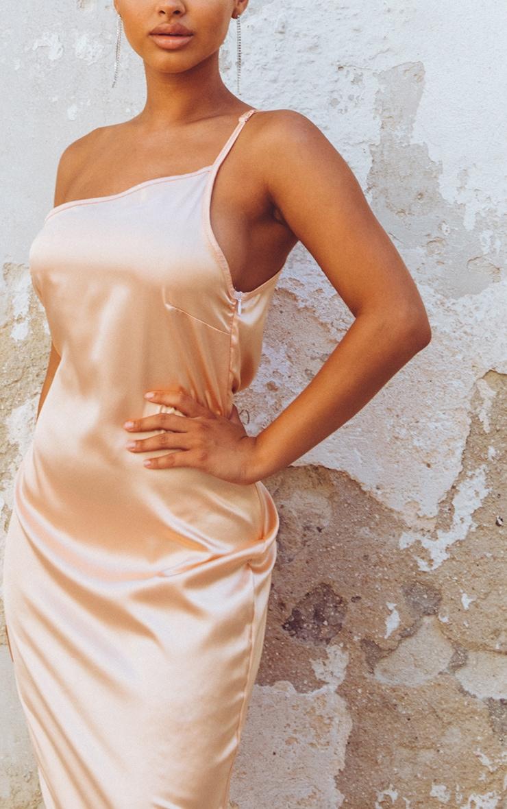 Peach Asymmetric Satin Midi Dress  5