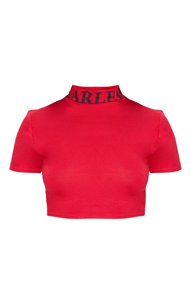 Red Fearless Embroidered Crop T Shirt 3
