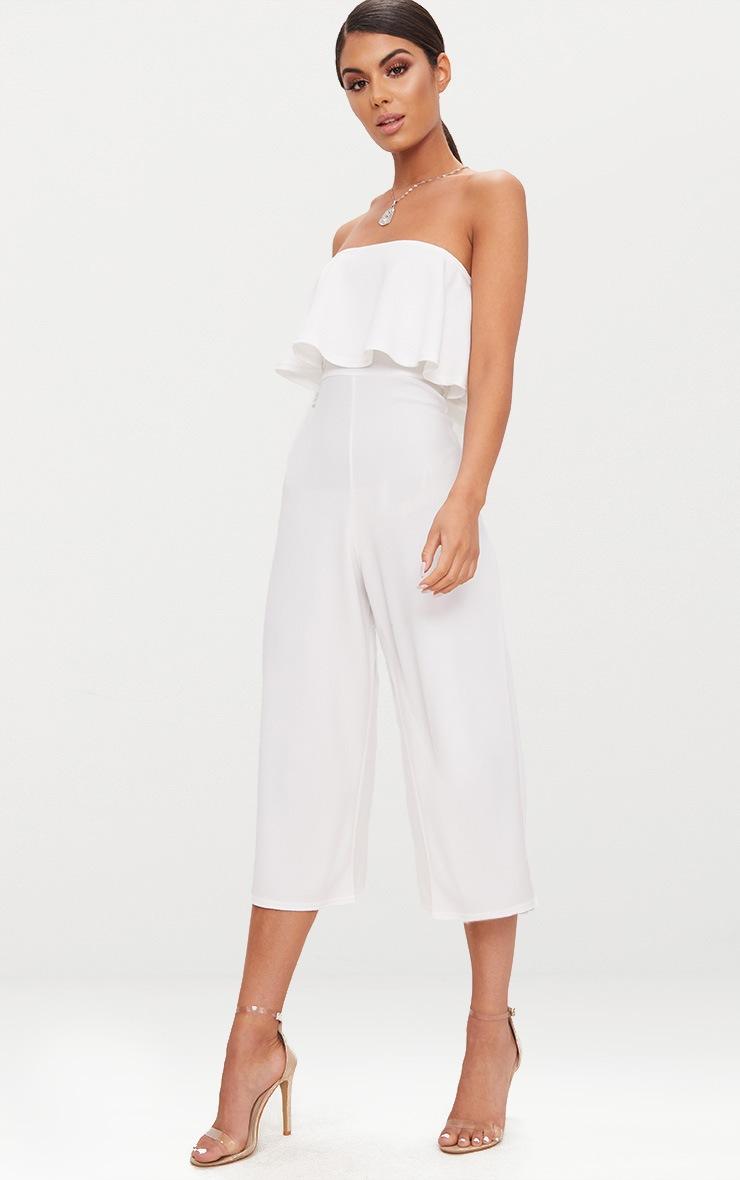 White Bardot Double Layer Culotte Jumpsuit 4