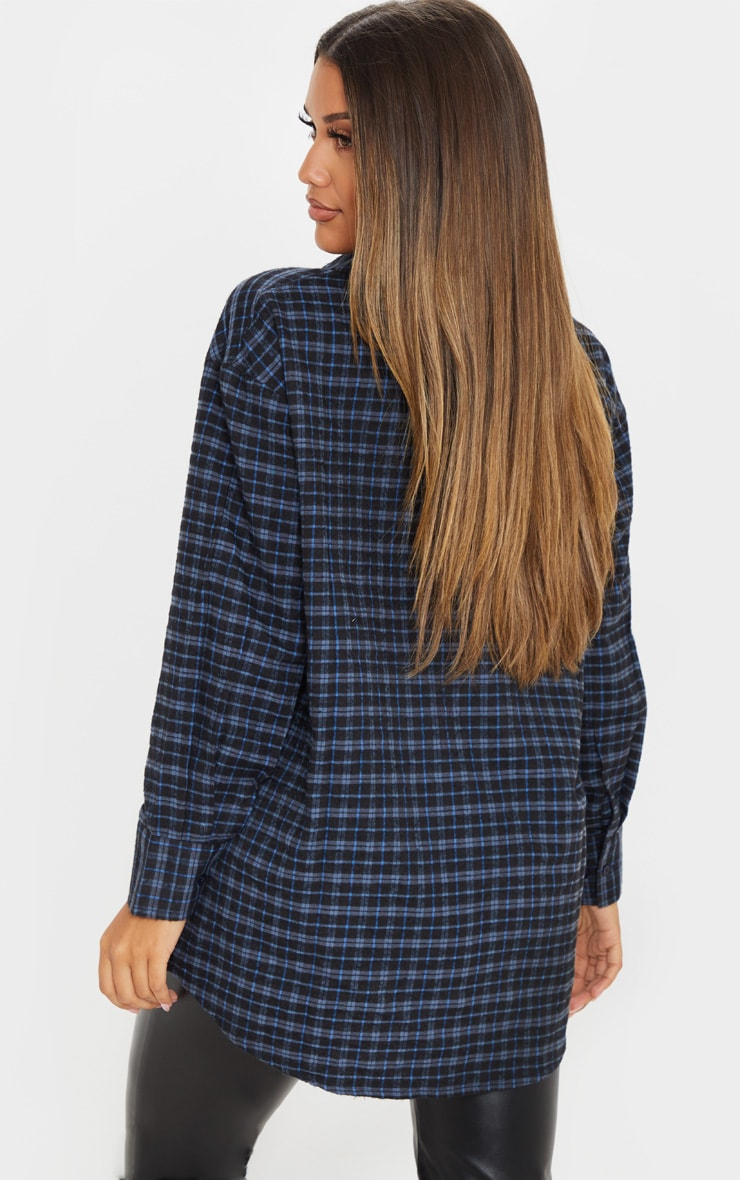 Navy Checked Oversized Dad Shirt 2