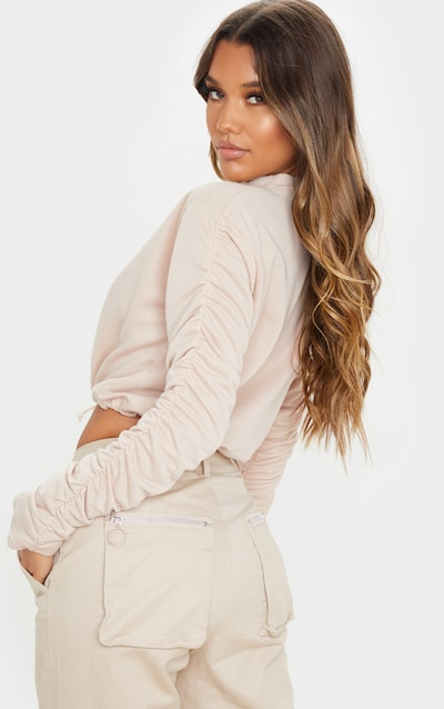 Sand Ruched Sleeve Drawstring Crop Sweater